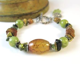 Green Garnet Bracelet, Agate Bracelet, Natural Gemstone Jewelry