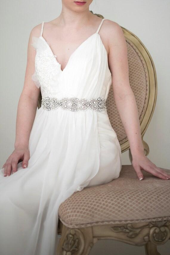Bridal Gown Sash, Wedding Dress Sash, Rhinestone Pearl Beaded Sash