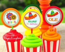 Fiesta Party Cupcake Toppers, Fiesta Party Decorations, Cinco De Mayo Party -Set of 12
