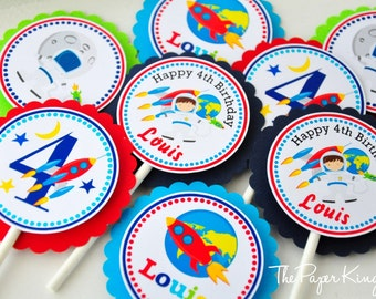 Astronaut  Cupcake Toppers, Outer Space Astronaut Birthday Party, Cupcake toppers in Navy Blue, Turquoise, Green and Red -Set of 12
