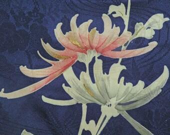 Clutch/Purse/Bag..Deep Purple/Gold/Silver/Rose..Painted Chrysanthemum Floral Silk Kimono..Bridal/Wedding Gift...OOAK