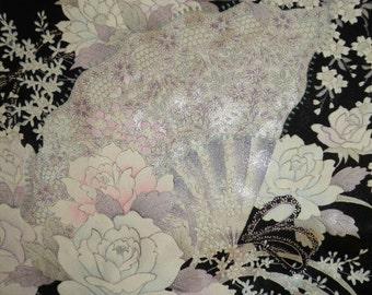 Handmade Silk Kimono Fabric Wrap/Shawl/Shrug..Roses..Cherry Blossom..Orchids Bouquet..Long Island Wedding/Bridal Gift/Evening/Fans..Black