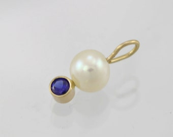 Pearl Drop Pendant w-Birthstone14k (Sapphire)(Pendant Only)