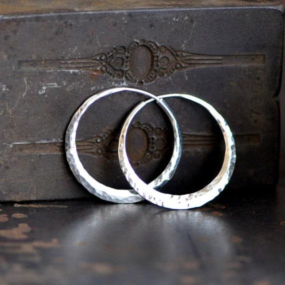 1 1/4 inch sterling silver  hoop earrings, hammered endless hoops medium size
