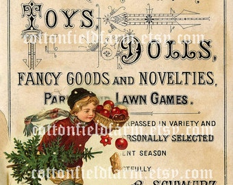 Victorian Boy in Red  With Tree and Apples  Vintage Toy Ad Digital Sheet C-481 Large Image  5 X 7 for Pillows, Aprons, Totes, Stockings, ECS