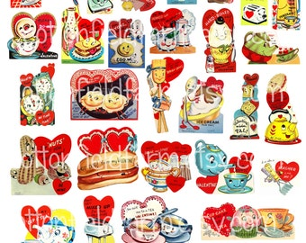 Anthropomorphic Valentines Retro Clip Art  Digital Download for Stickers, Tags, Cards, Scrapbooking 38 images