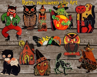 Vintage Halloween Clip Art Digital Collage  C-592 for Tags, Scrapbooking, Cards, Heat Transfers, Commercial Use, 12 png files