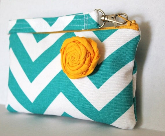 Chevron Wristlet with Removable Strap and Shabby Rose Brooch (turquoise)