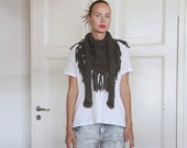 Chunky cotton triangle fringe scarf - Charcoal grey