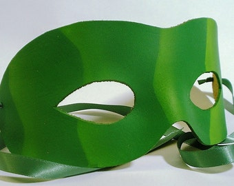 Green Leather Mask with Light Green Ripples