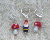 Gnomes and Mushrooms knitting crochet stitch markers removable - ceramic and glass beads