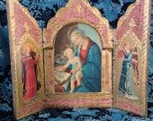 Antique Madonna and Child with Angels Shrine Tryptic