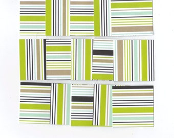 Stripes Mini Note Cards / Set of 18 / MN78 / 2x2 Inches / Ready To Ship