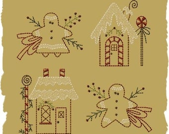 Primitive Machine Embroidery Design-Gingerbread Mini Collection 1- Version 2-4x4 SET-INSTANT DOWNLOAD