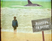 Heavens To Betsy - Art Print.  Beach photography, humor, sharks, kids decor,lime green, surf, landscape photography.