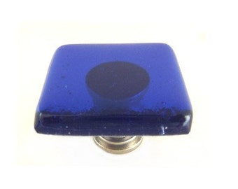 Cabinet Knob Hardware l Drawer Pulls Handles in Cobalt Blue - Artisan Glass Knobs k1103
