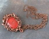 Sponge Coral and Copper Pendant