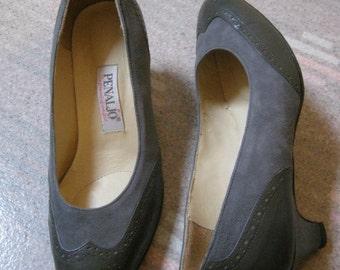 Vintage gray leather suede mid heel pumps, grey wingtip style mid heel pumps, grey tones shoes by Penaljo size 7 1/2 Wide