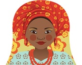 Southern Nigerian Matryoshka Art Print, Kids Wall Art