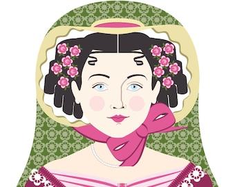 English Rose Wall Art Print featuring culturally traditional dress drawn in a Russian matryoshka nesting doll shape