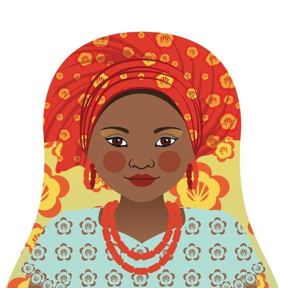 Southern Nigerian Wall Art Print with culturally traditional dress drawn in a Russian matryoshka nesting doll shape