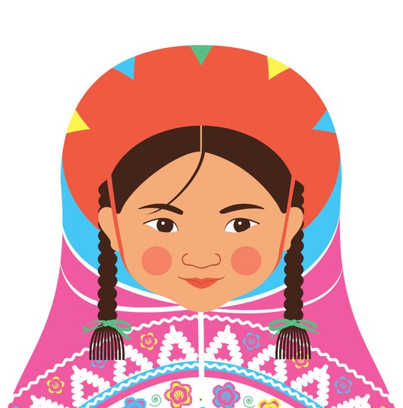 Peruvian Doll Art Print with traditional folk dress, matryoshka