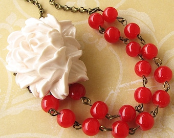 Flower Necklace Bridesmaid Jewelry Red Necklace Bridesmaid Jewelry White Statement Necklace Beaded Necklace