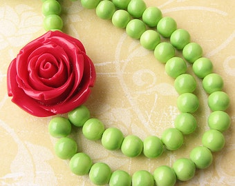 Bridesmaid Jewelry Red Flower Necklace Statement Necklace Lime Green Jewelry Bib Necklace Gift For Her