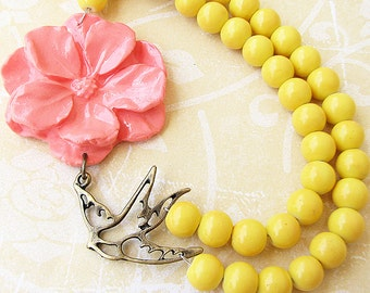 Flower Necklace Statement Necklace Coral Jewelry Yellow Necklace Bridesmaid Jewelry Bib Necklace