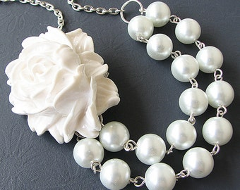 Bridesmaid Jewelry Flower Necklace Wedding Jewelry Statement Necklace Wedding Necklace