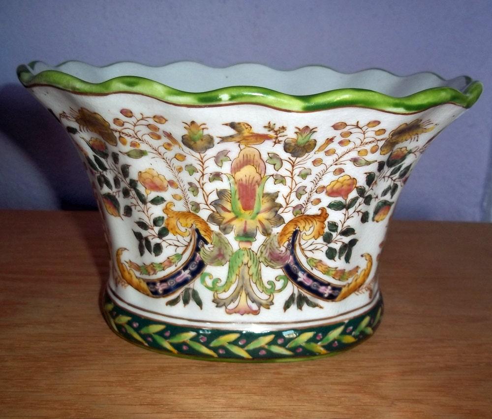 Vintage Japanese Hand-Painted Urn Or Flower Pot