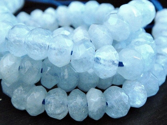 Aquamarine Rondelle, Faceted Gemstone Beads LUXE AAA, Brides, Wholesale Beads  8x4mm approx, 6 inch strand