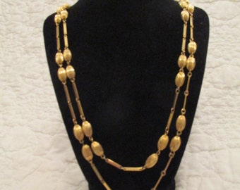 Retro Necklace 2 strand gold tone metal SALE