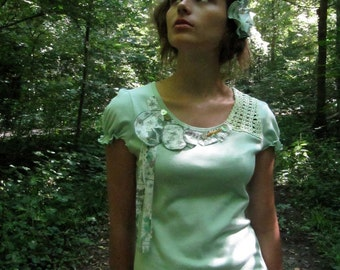 "SALE ! - Crochet T-shirt ""Walk in the woods"" Bamboo color"