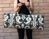 Yoga or Pilates Tote IKAT grey and tan, Yoga Tote, Yoga Carrier, Gym Bag, Yoga Mat Bag