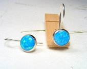 Blue Opal cabochon ,8mm round stone on sterling silver, dangling, every day earrings.