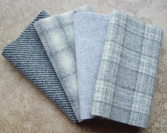 """Hand Felted Wool, Gray Textures v. 2, Four 6.5"""" x 16"""" pieces for Rug Hooking, Applique and Crafts"""