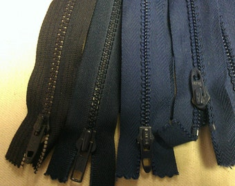 assorted Blues 12 inch plastic Zipper see description