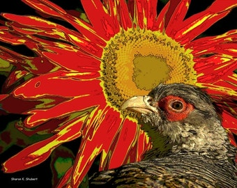 Bird Art, Pheasant Woodland Animal, Southwestern Red Yellow, Sunflower Flower, Wildlife Woods, Wall Hanging, Home Decor, Giclee Print