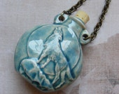 CLEARANCE-Lone Wolf in the Moon-ceramic jar necklace, brass chain, 24 1/2 inches or 62 cm