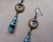 Doll's Eyes-plastic and stone earrings, dyed malachite, 3 inches or 7 1/2 cm