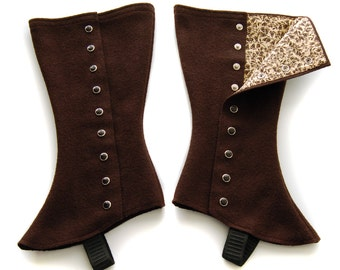 SALE! Tall Chocolate Spats - Size Large