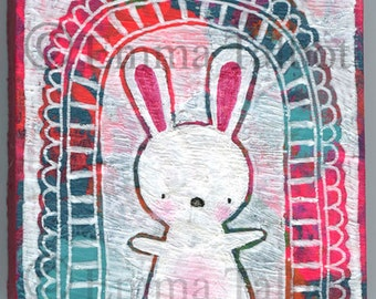 Nursery Art, Art For Childrens Room, Kids Room Decor, Original painting, Original Mixed Media Painting. Hello Little Bunny by Emma Talbot