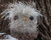 Grey owl plush toy, owl toy, hand knit and felted owl stuffed animal, woodland animal toy, owl and nest toy, grey owlet toy made to order