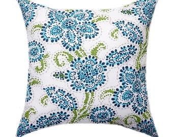 Pillow, Navy Floral Throw Pillow, STUFFED Pillow, Outdoor Decorative Pillow, Premier Prints Navy Blue Aqua White Floral Pillow - Free Ship