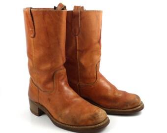 Campus Leather Boots Vintage 1970s Landis  Men's size 9-9 1/2