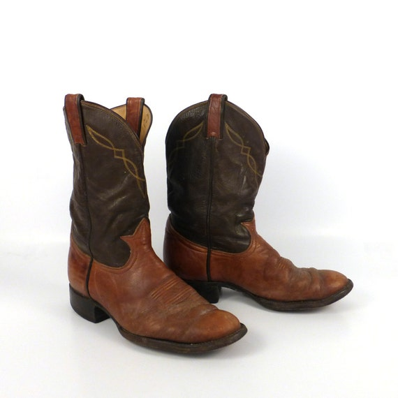 Vintage 1980s tony lama two tone roper distressed men s size 8 1 2 d