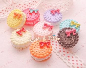 Macaroon with Ribbon Sweets Deco Kawaii Cabochon Decoden Pieces Kawaii Cabochon - 6pc