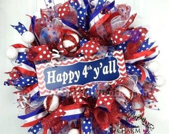 ON SALE Deco Mesh Patriotic Wreath -4th of July Decor -Happy 4th Y'all