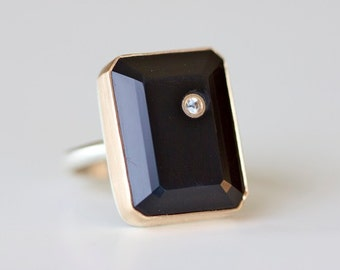Size 7.25 - Black Onyx Ring with White Sapphire Inlay in Recycled 14k Gold and Sterling Silver